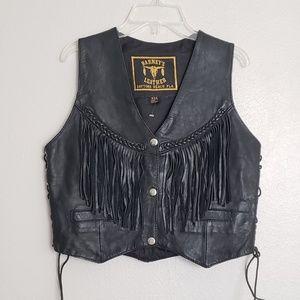 Vintage Biker Festival Fringe Leather Top   Vest